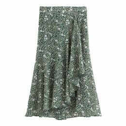 Long Printed Wrapover Skirt