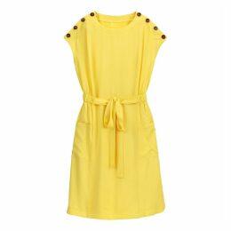 Tie-Waist Buttoned Tunic Dress