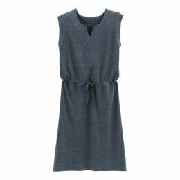 Linen Flared Tie-Waist Dress
