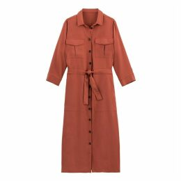 Tie-Waist Midi Shirt Dress