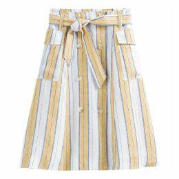 Linen Striped Tie-Waist Buttoned Skirt