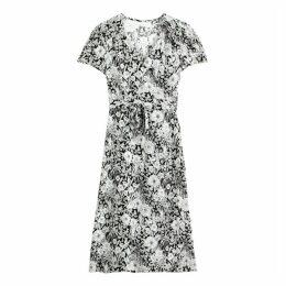Floral Print Wrapover Tie-Waist Midi Dress