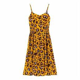 Leopard Print Gathered Midi Dress