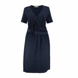 Wrapover Short-Sleeved Midi Dress