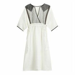 Cotton Embroidered Wrapover Midi Dress
