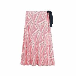 Geometric Print Wrapover Skirt