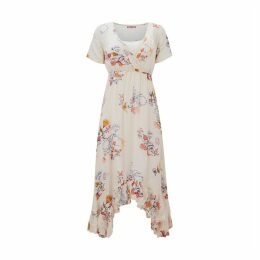 Ruffled Flared Knee-Length Dress in Floral Print