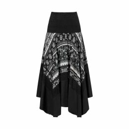 Graphic Print Flared Skirt