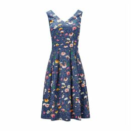 Flared Sleeveless Dress in Floral Print Cotton