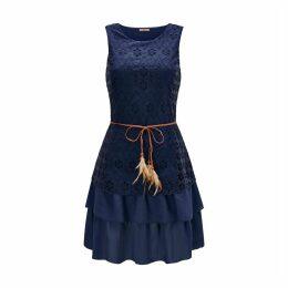 Dual Fabric Sleeveless Midi Dress