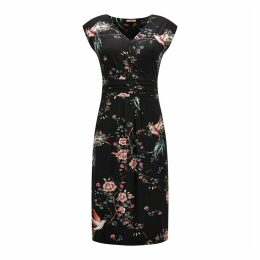 Wrapover Mid-Length Dress in Floral Print