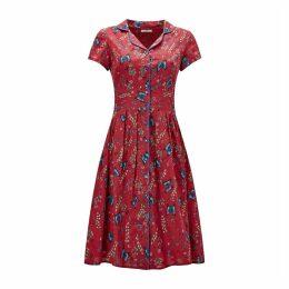 Floral Print Flared Shirt Dress