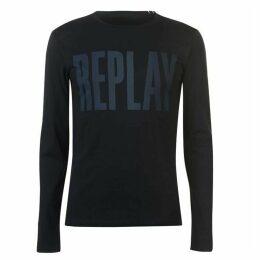Replay Long Sleeve Logo T Shirt