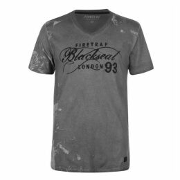 Firetrap Blackseal Smoke Skull T Shirt