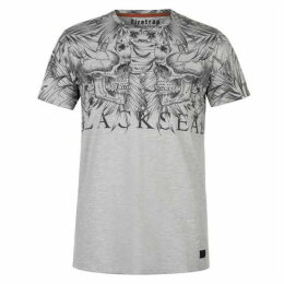 Firetrap Blackseal Skull Leaves T Shirt