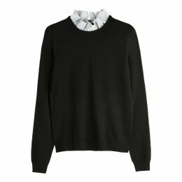 Dual Fabric Jumper with Stand-Up Collar