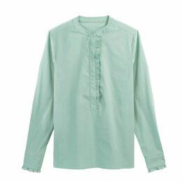 Ruffled Mandarin Collar Shirt in Cotton Mix