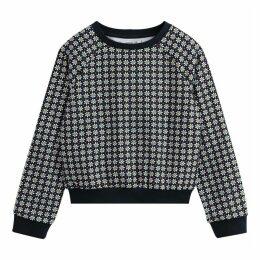 Cotton Floral Print Raglan Sleeve Sweatshirt