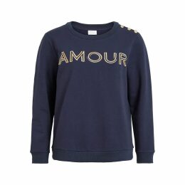 Printed Front Crew Neck Sweatshirt with Buttoned Shoulder