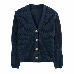 Cotton Chunky Knit Buttoned Cardigan