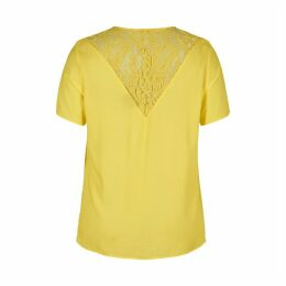 Lace Panel Short-Sleeved Blouse