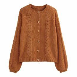 Cotton Mix Openwork Cardigan in Fine Knit