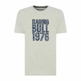 Raging Bull Floral Pattern Applique T Shirt