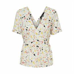 Mida Printed V-Neck Short-Sleeved Blouse