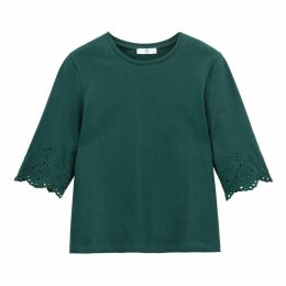 Cotton Broderie Anglaise Embroidered T-Shirt