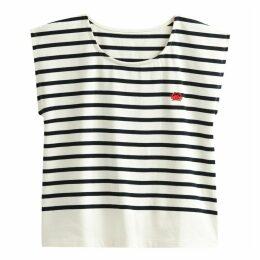 Cotton Breton Stripe Crab Embroidery T-Shirt