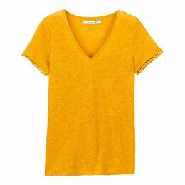 Linen Braided V-Neck T-Shirt