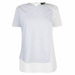 DKNY Womens Fabric Striped Top
