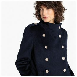 Wool Blend Double-Breasted Military Coat