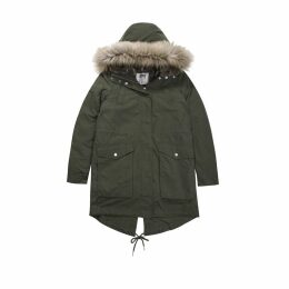 Mid-Length Parka with Fur Hood