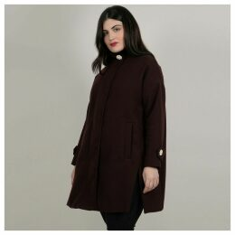 Long Zip-Up Coat with Embellished Stand-Up Collar