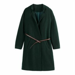 Straight Belted Collarless Coat in Wool Mix