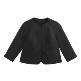 Cotton Cropped Collarless Jacket