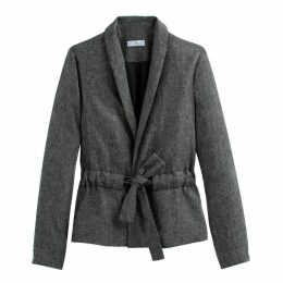 Linen Mix Tie-Waist Fitted Blazer
