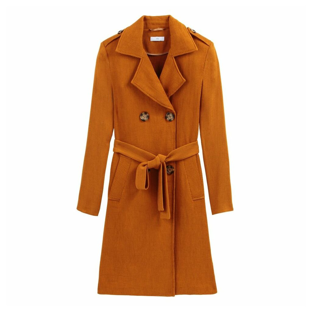 Double-Breasted Trench Coat in Cotton Mix