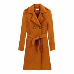 Cotton Mix Textured Long Trench Coat
