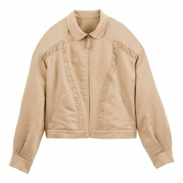 Cropped Linen Mix Western Jacket with Ruffles