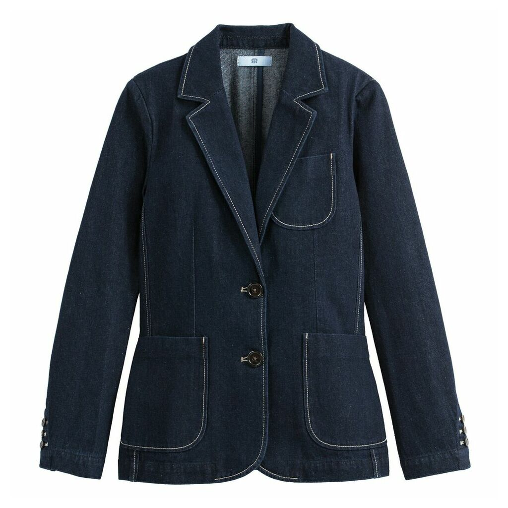 Denim Single-Breasted Blazer with Pockets