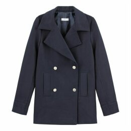 Cotton Double-Breasted Pea Coat with Pockets