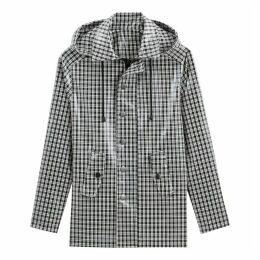 Checked Hooded Raincoat with Pockets