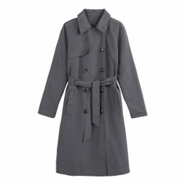 Mid-Length Double-Breasted Trench Coat with Pockets