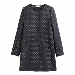 Polka Dot Print Mid-Length Coat