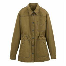 Longline Cotton Utility Jacket with Drawstring Waist