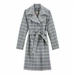 Cotton Mix Checked Trench Coat