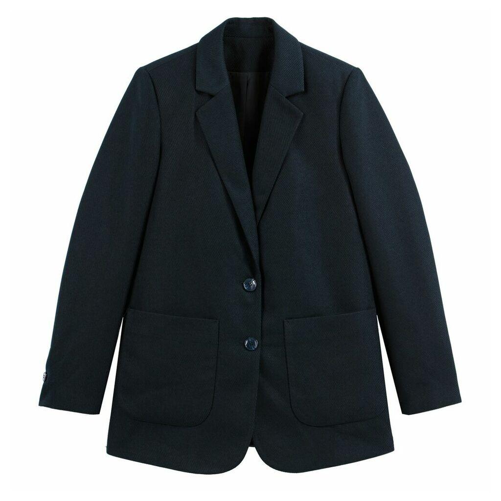 Longline Single-Breasted Boyfriend Blazer with Pockets