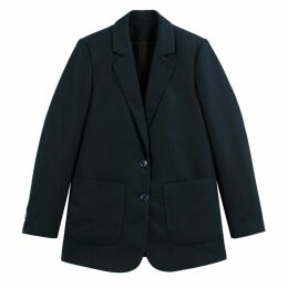 Longline Single-Breasted Boyfriend Blazer with Pockets